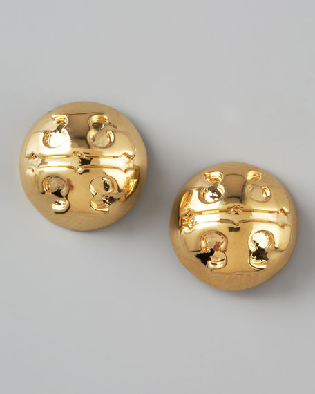 Golden Logo Stud Earrings