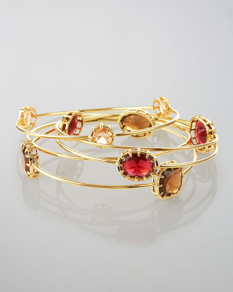 Golden Bangles Set, Red