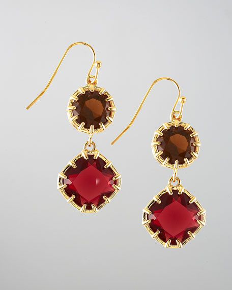 Double-Stone Drop Earrings, Red