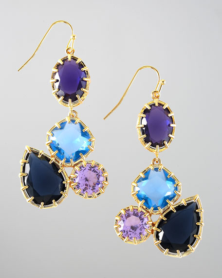 Multi-Stone Drop Earrings, Blue