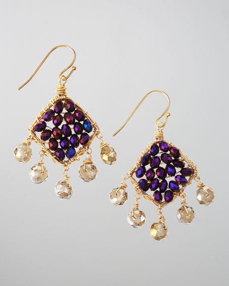 Crystal-Filled Drop Earrings