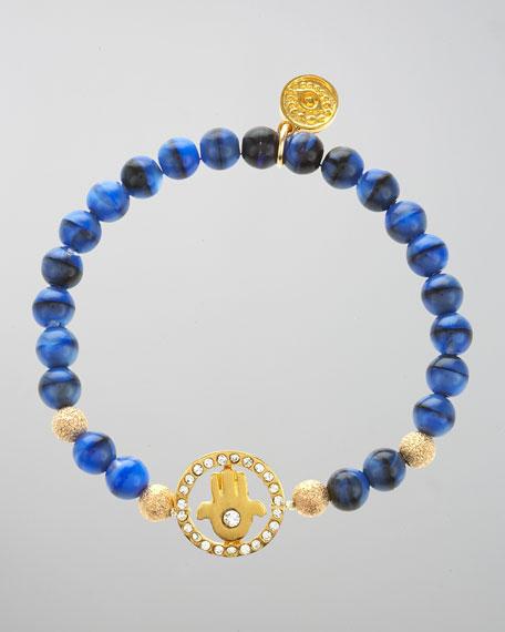Pave Hamsa Beaded Bracelet