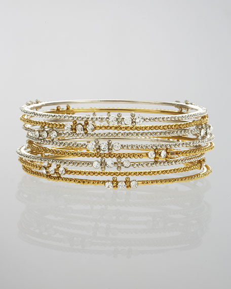 Crystal-Stud Beaded Bangle Set