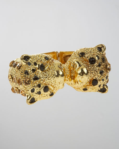 Double Panther Face Ring