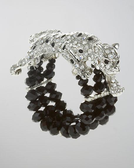 Pave Leopard Beaded Bracelet