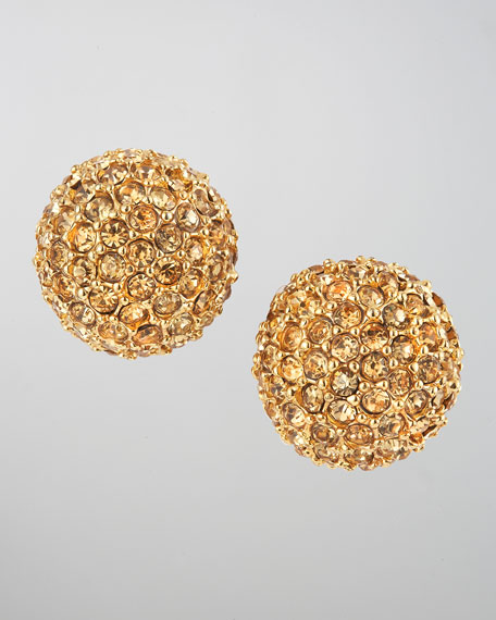 Pave Ball Stud Earrings, Golden