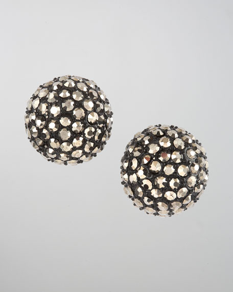 Pave Ball Stud Earrings, Silvertone