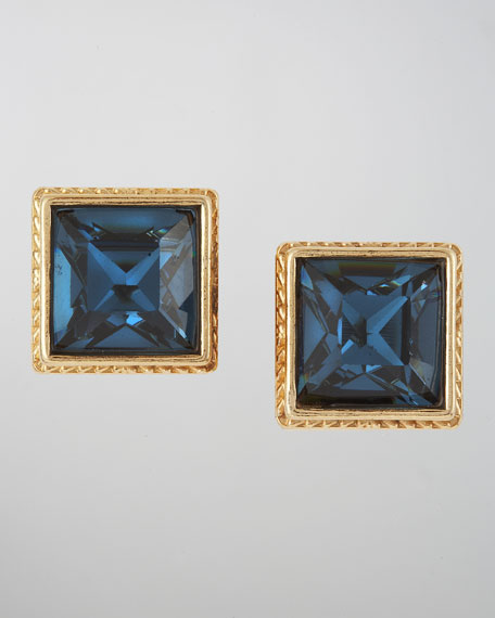 Square Crystal Stud Earrings, Montana Blue