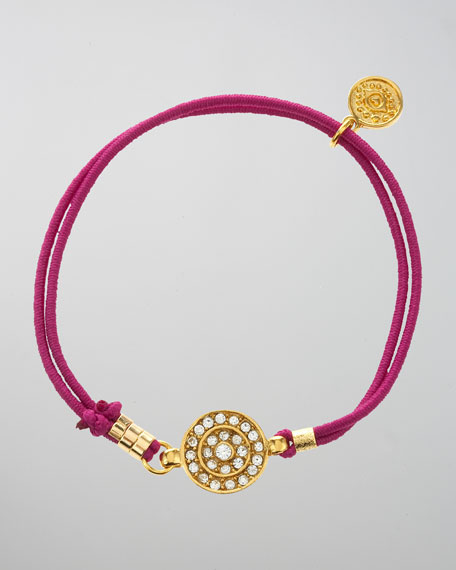 Pave Eye Stretch Bracelet, Fuchsia
