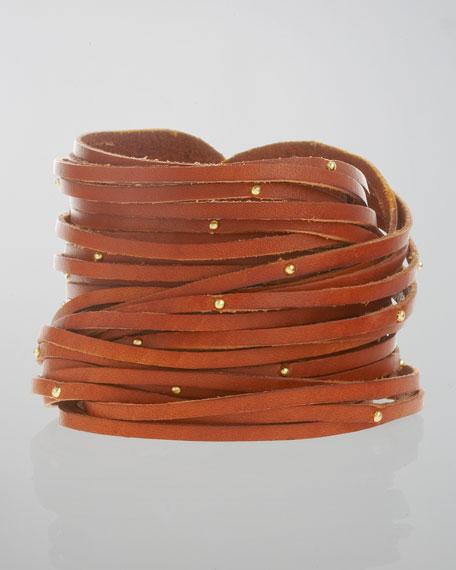 Double-Wrap Studded Leather Bracelet, Cognac
