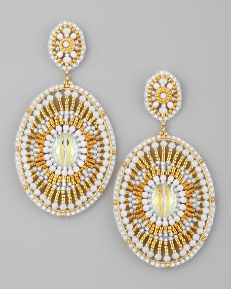 Beaded White Quartz Earrings