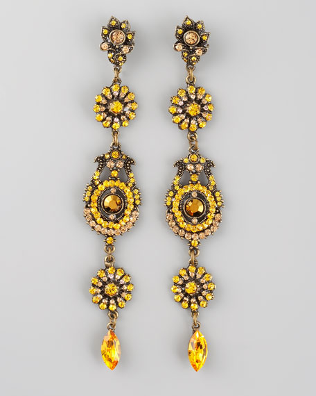 Crystal Drop Earrings, Yellow
