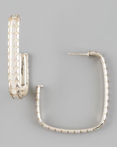 Dot Square Hoop Earrings, Silver
