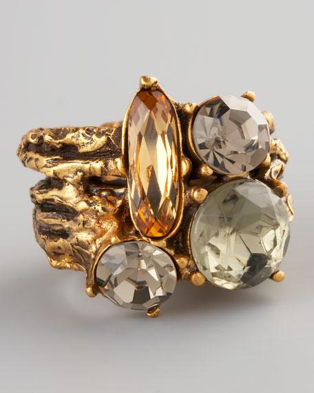 Multicolor Crystal Branch Ring
