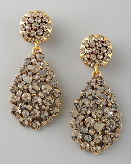 Crystal Teardrop Earrings, Gray