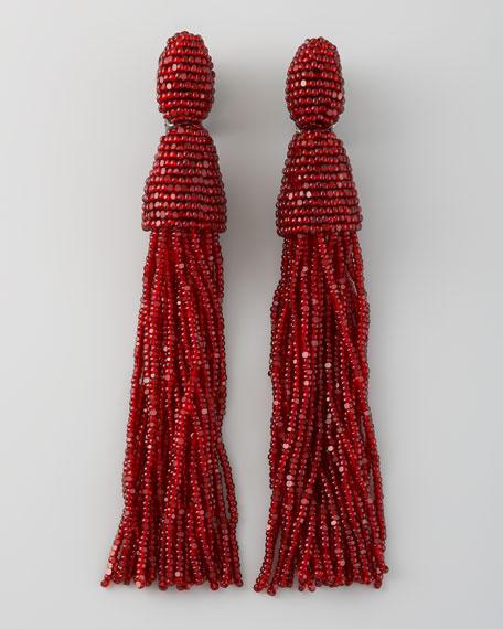 Oscar De La Renta Beaded Tassel Earrings Garnet