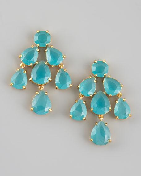 chandelier earrings, aqua