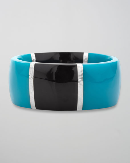 Resin & Silver Bangle, Blue