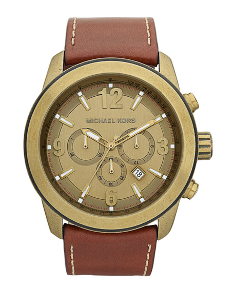 Men's Mid-Size Chronograph Leather Watch, Luggage