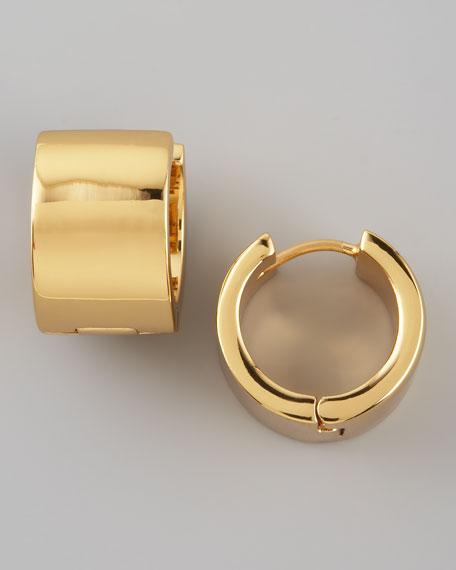bar none huggie earrings, gold
