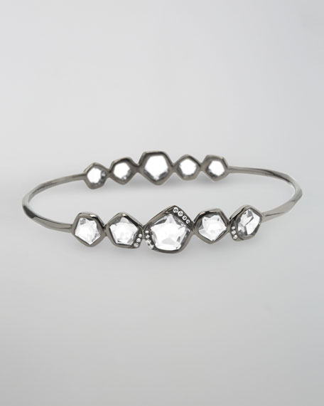 Diamond & Quartz Station Bangle