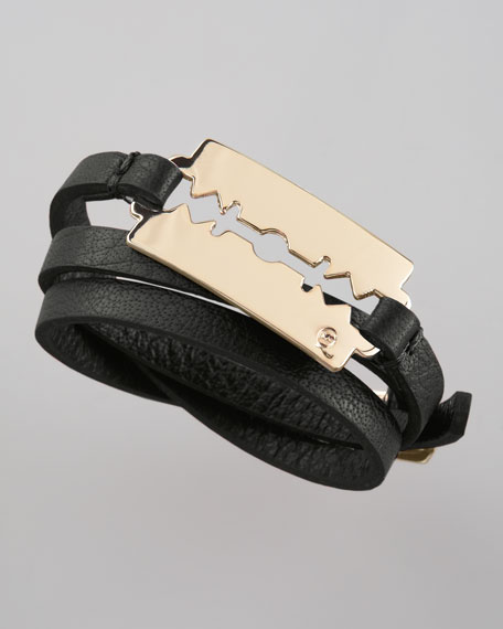 Shiny Razor-Blade Wrap Bracelet, Black