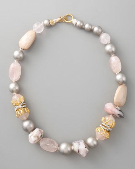 """Multi-Stone Necklace, 19""""L"""