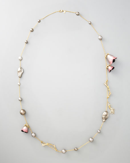 "Pearl Station Necklace, 42""L"