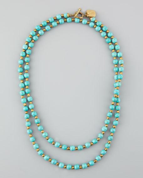 """Shanga Turquoise Necklace, 42""""L"""