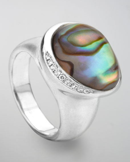 Scultura Pebble Diamond Ring, Abalone