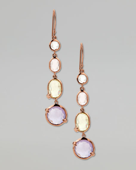 Four-Stone Drop Earrings, Rose Gold