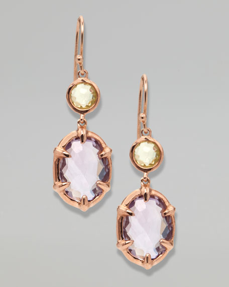 Two-Stone Drop Earrings, Rose