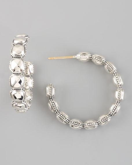 Silver Rocks Hoop Earrings