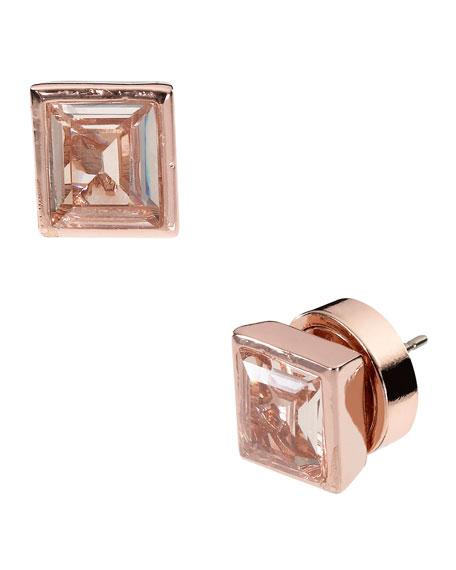 Baguette Stud Earrings, Rose Golden