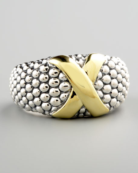 Mixed-Metal Caviar Ring