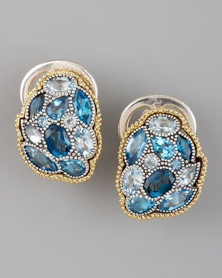 Ombre Earrings, Blue Topaz