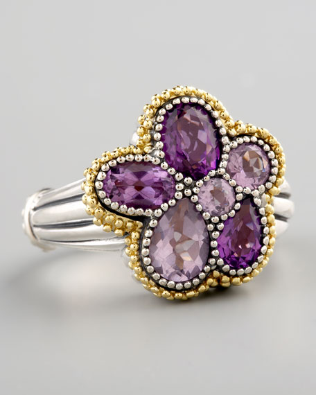 Ombre Flower Ring, Amethyst