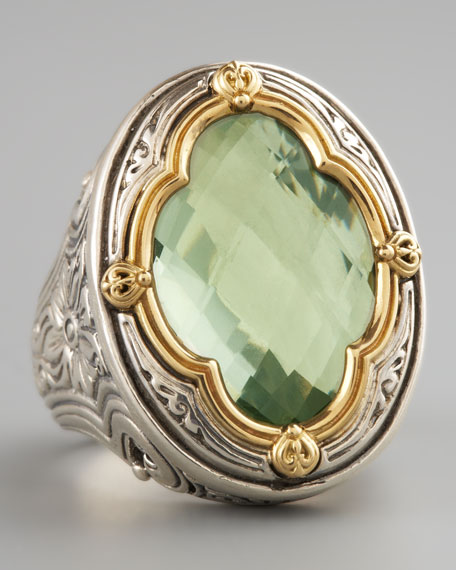 Green Amethyst Clover Ring
