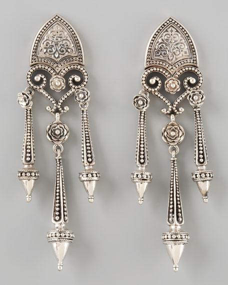 Sterling Silver Shield Drop Earrings
