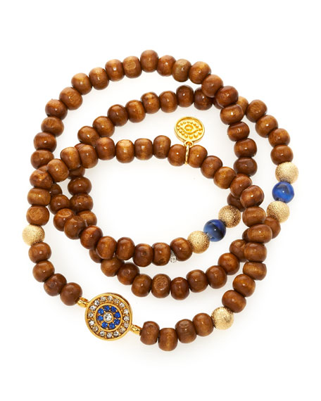 Wooden Evil Eye Bracelet Set