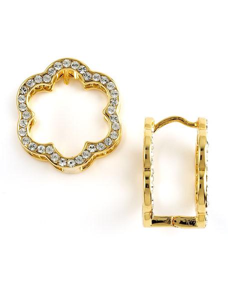 Pave Flower Huggie Earrings