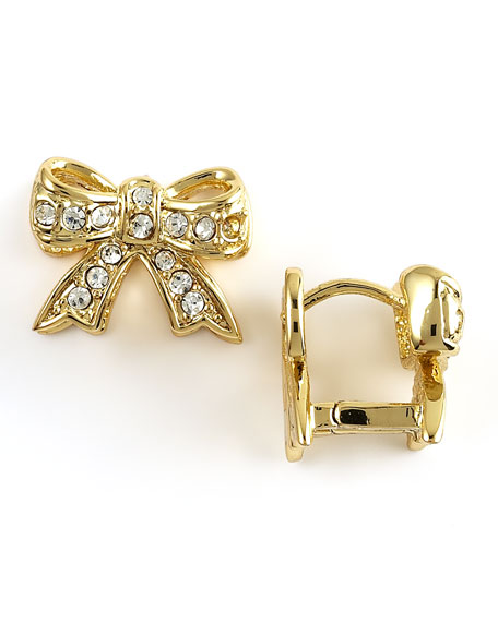Pave Bow Huggie Earrings