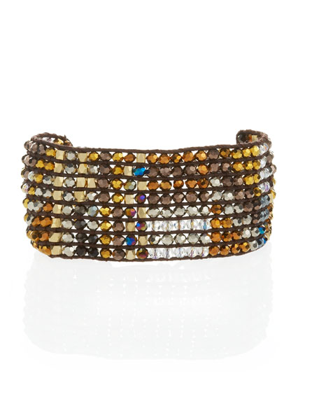 Beaded Tribal Cuff, Gold/Brown