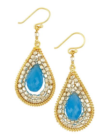 Teardrop Blue Bead Earrings