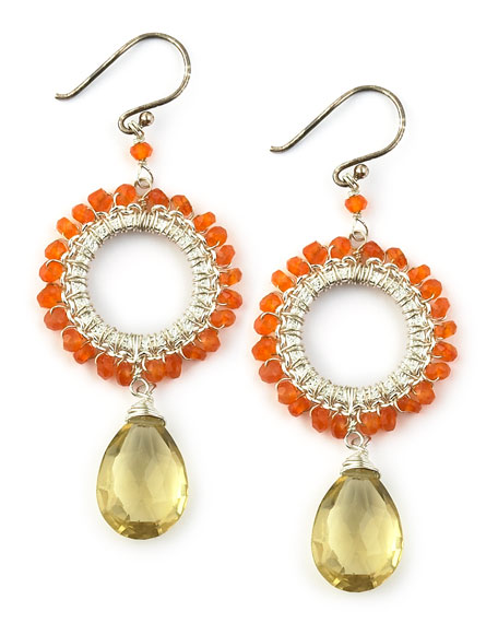 Orange and Green Bead Earrings