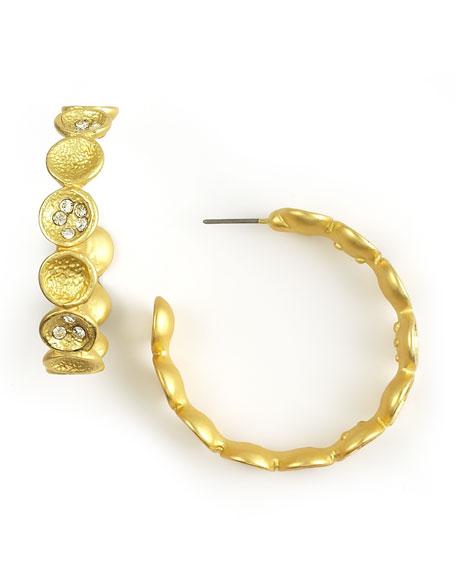 Golden Textured Pave Hoop Earrings