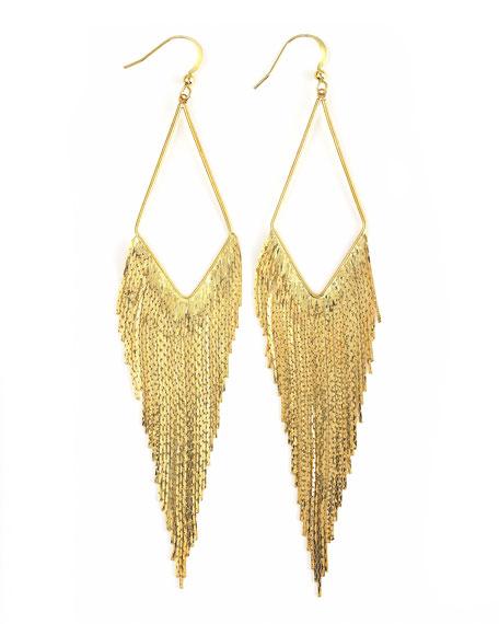 Golden Long Fringe Hoop Earrings (Stylist Pick!)