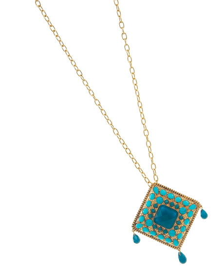 Beaded Rhombus Pendant Necklace