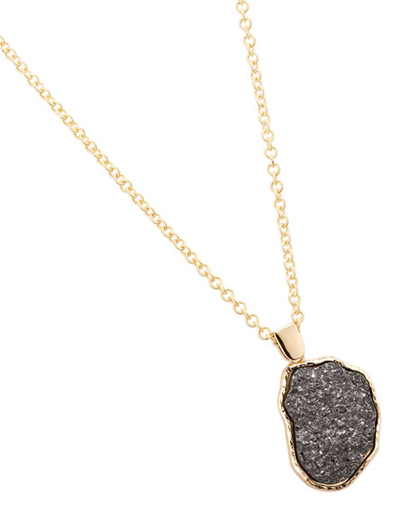 Druzy Hematite Pendant Necklace