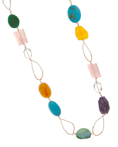 Candy Color Long Stone Necklace